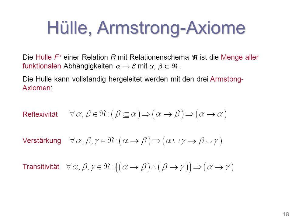 18 Die Hülle F + einer Relation R mit Relationenschema ist die Menge aller funktionalen Abhängigkeiten mit,. Die Hülle kann vollständig hergeleitet we