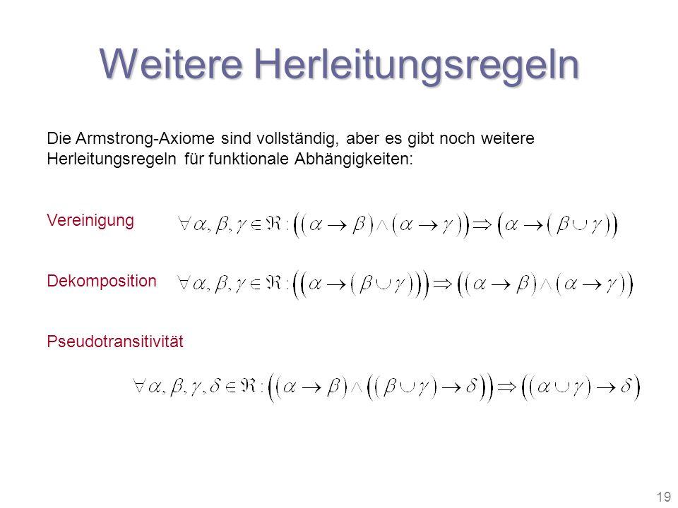 19 Weitere Herleitungsregeln Die Armstrong-Axiome sind vollständig, aber es gibt noch weitere Herleitungsregeln für funktionale Abhängigkeiten: Verein