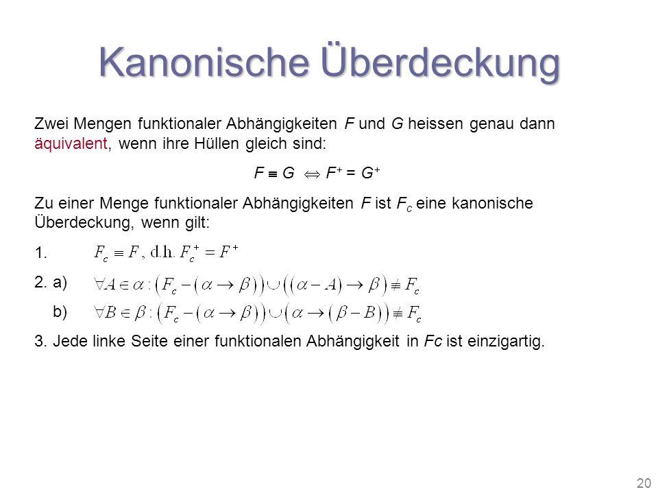 20 Kanonische Überdeckung Zwei Mengen funktionaler Abhängigkeiten F und G heissen genau dann äquivalent, wenn ihre Hüllen gleich sind: F G F + = G + Z