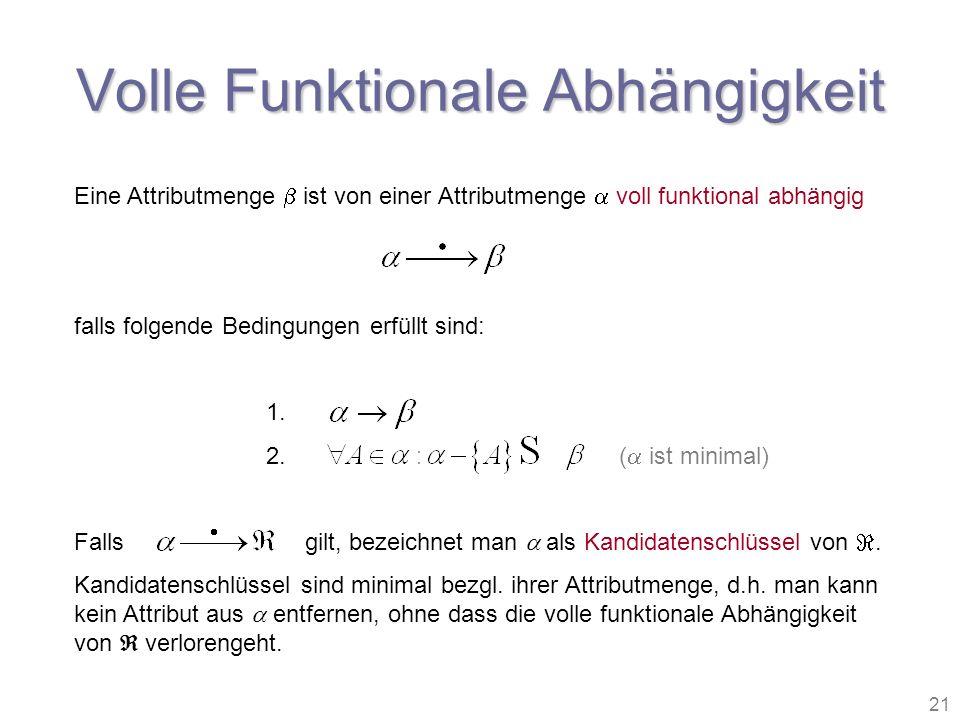 21 Volle Funktionale Abhängigkeit Eine Attributmenge ist von einer Attributmenge voll funktional abhängig falls folgende Bedingungen erfüllt sind: 1.