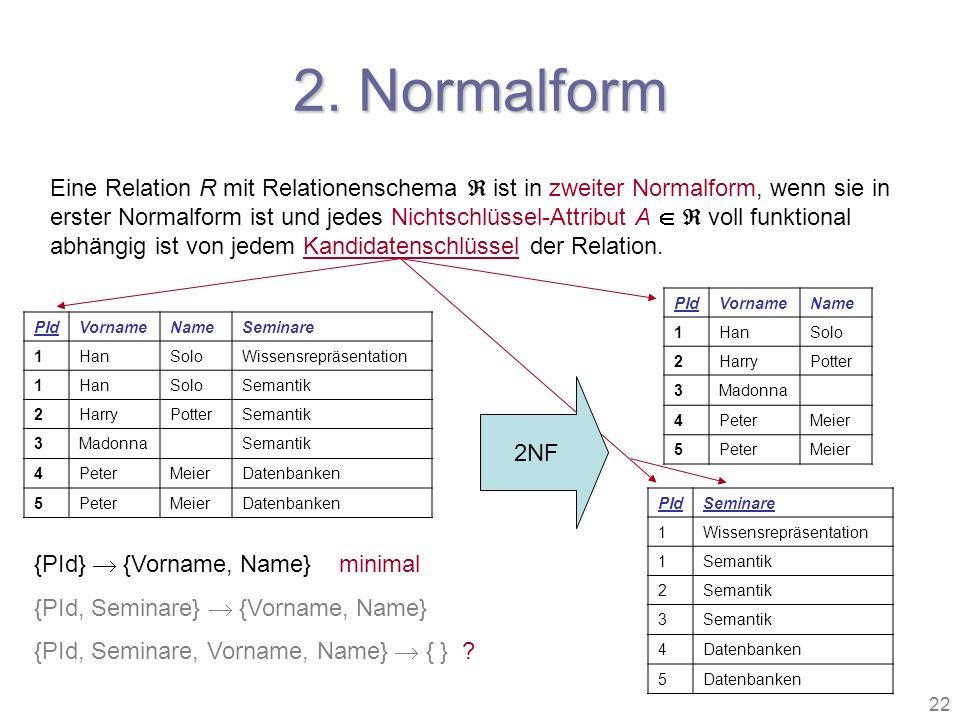 22 2. Normalform Eine Relation R mit Relationenschema ist in zweiter Normalform, wenn sie in erster Normalform ist und jedes Nichtschlüssel-Attribut A
