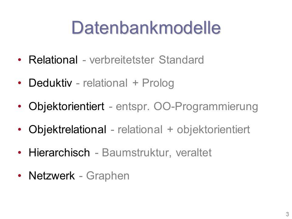3 Datenbankmodelle Relational - verbreitetster Standard Deduktiv - relational + Prolog Objektorientiert - entspr. OO-Programmierung Objektrelational -