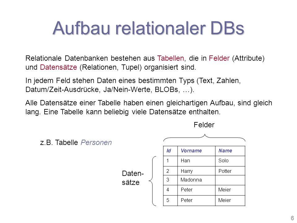 6 Aufbau relationaler DBs Relationale Datenbanken bestehen aus Tabellen, die in Felder (Attribute) und Datensätze (Relationen, Tupel) organisiert sind