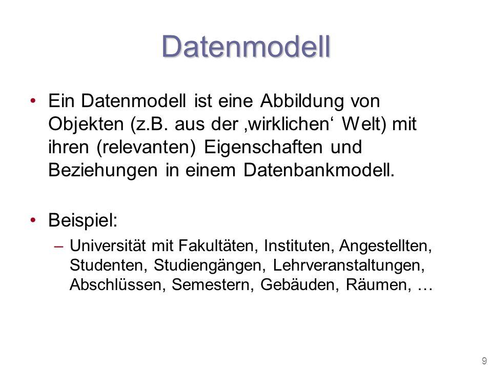9 Datenmodell Ein Datenmodell ist eine Abbildung von Objekten (z.B. aus der wirklichen Welt) mit ihren (relevanten) Eigenschaften und Beziehungen in e