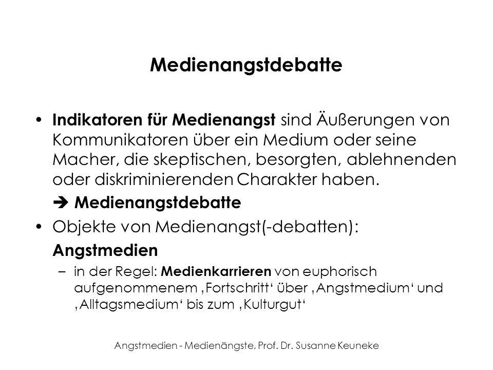 Angstmedien - Medienängste, Prof. Dr. Susanne Keuneke Medienangstdebatte Indikatoren für Medienangst sind Äußerungen von Kommunikatoren über ein Mediu