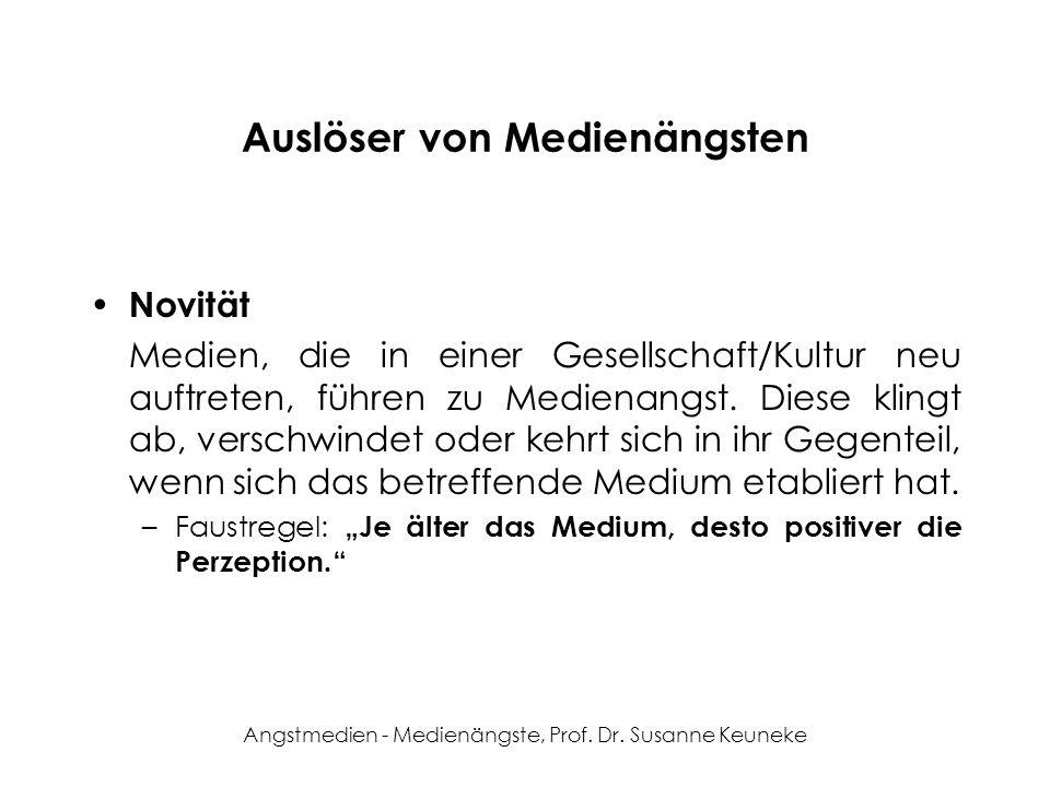 Angstmedien - Medienängste, Prof. Dr. Susanne Keuneke Auslöser von Medienängsten Novität Medien, die in einer Gesellschaft/Kultur neu auftreten, führe