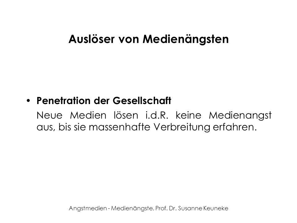 Angstmedien - Medienängste, Prof. Dr. Susanne Keuneke Auslöser von Medienängsten Penetration der Gesellschaft Neue Medien lösen i.d.R. keine Medienang