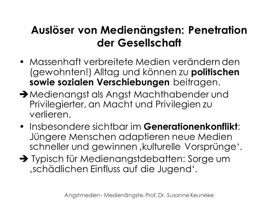 Angstmedien - Medienängste, Prof. Dr. Susanne Keuneke Auslöser von Medienängsten: Penetration der Gesellschaft Massenhaft verbreitete Medien verändern