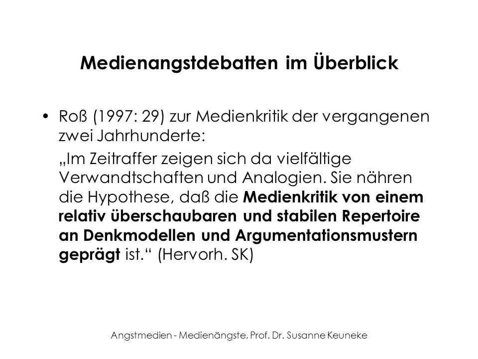 Angstmedien - Medienängste, Prof. Dr. Susanne Keuneke Medienangstdebatten im Überblick Roß (1997: 29) zur Medienkritik der vergangenen zwei Jahrhunder