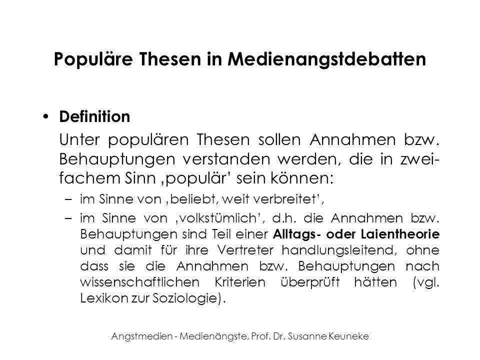 Angstmedien - Medienängste, Prof. Dr. Susanne Keuneke Populäre Thesen in Medienangstdebatten Definition Unter populären Thesen sollen Annahmen bzw. Be