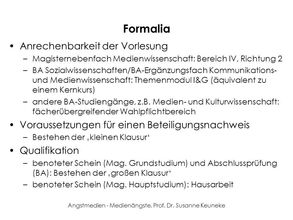 Angstmedien - Medienängste, Prof. Dr. Susanne Keuneke Formalia Anrechenbarkeit der Vorlesung –Magisternebenfach Medienwissenschaft: Bereich IV, Richtu