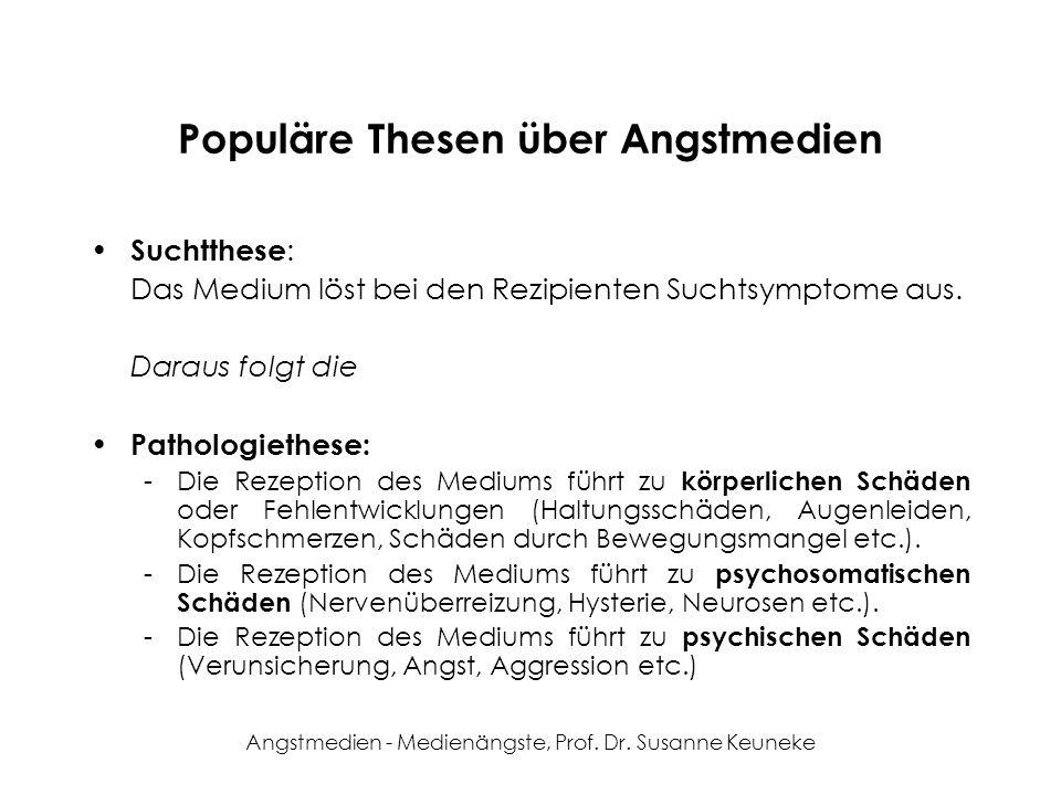 Angstmedien - Medienängste, Prof. Dr. Susanne Keuneke Populäre Thesen über Angstmedien Suchtthese : Das Medium löst bei den Rezipienten Suchtsymptome