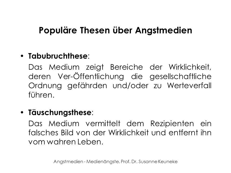 Angstmedien - Medienängste, Prof. Dr. Susanne Keuneke Populäre Thesen über Angstmedien Tabubruchthese : Das Medium zeigt Bereiche der Wirklichkeit, de