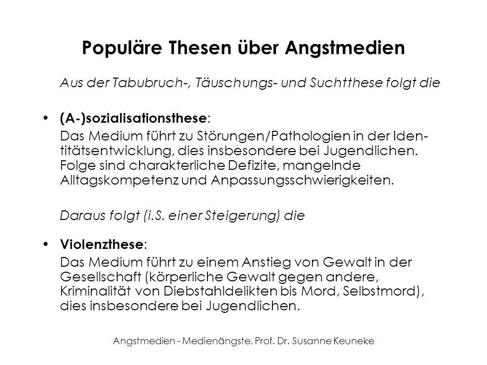 Angstmedien - Medienängste, Prof. Dr. Susanne Keuneke Populäre Thesen über Angstmedien Aus der Tabubruch-, Täuschungs- und Suchtthese folgt die (A-)so