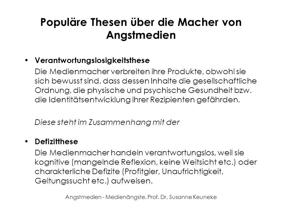 Angstmedien - Medienängste, Prof. Dr. Susanne Keuneke Populäre Thesen über die Macher von Angstmedien Verantwortungslosigkeitsthese Die Medienmacher v
