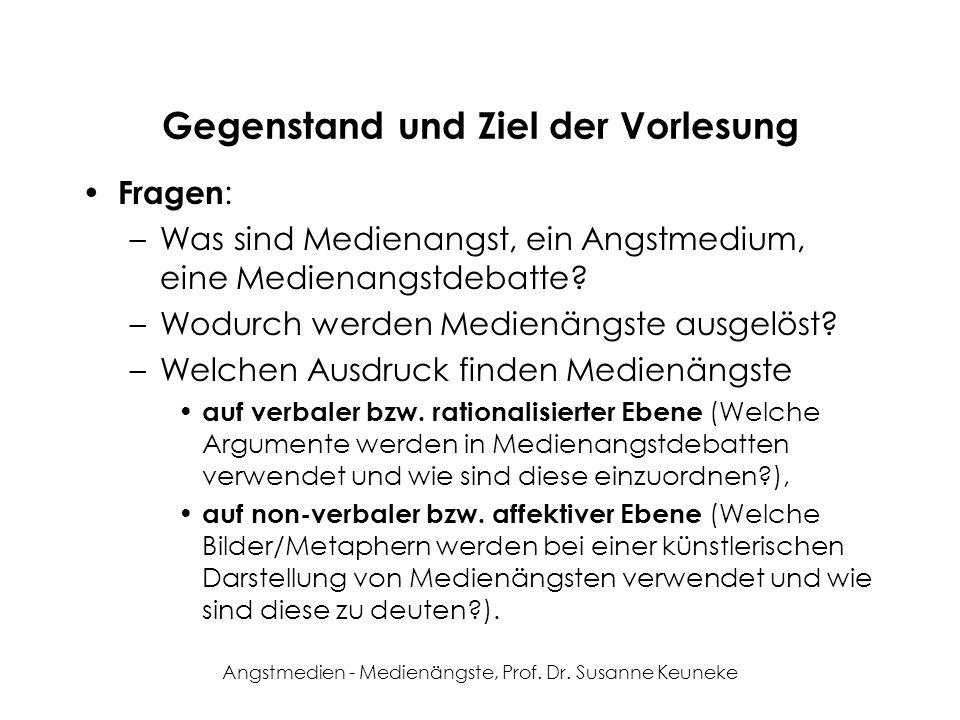 Angstmedien - Medienängste, Prof. Dr. Susanne Keuneke Gegenstand und Ziel der Vorlesung Fragen : –Was sind Medienangst, ein Angstmedium, eine Medienan