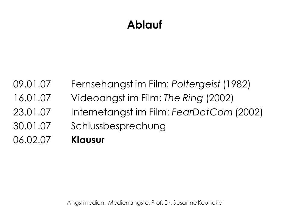 Angstmedien - Medienängste, Prof. Dr. Susanne Keuneke Ablauf 09.01.07Fernsehangst im Film: Poltergeist (1982) 16.01.07Videoangst im Film: The Ring (20