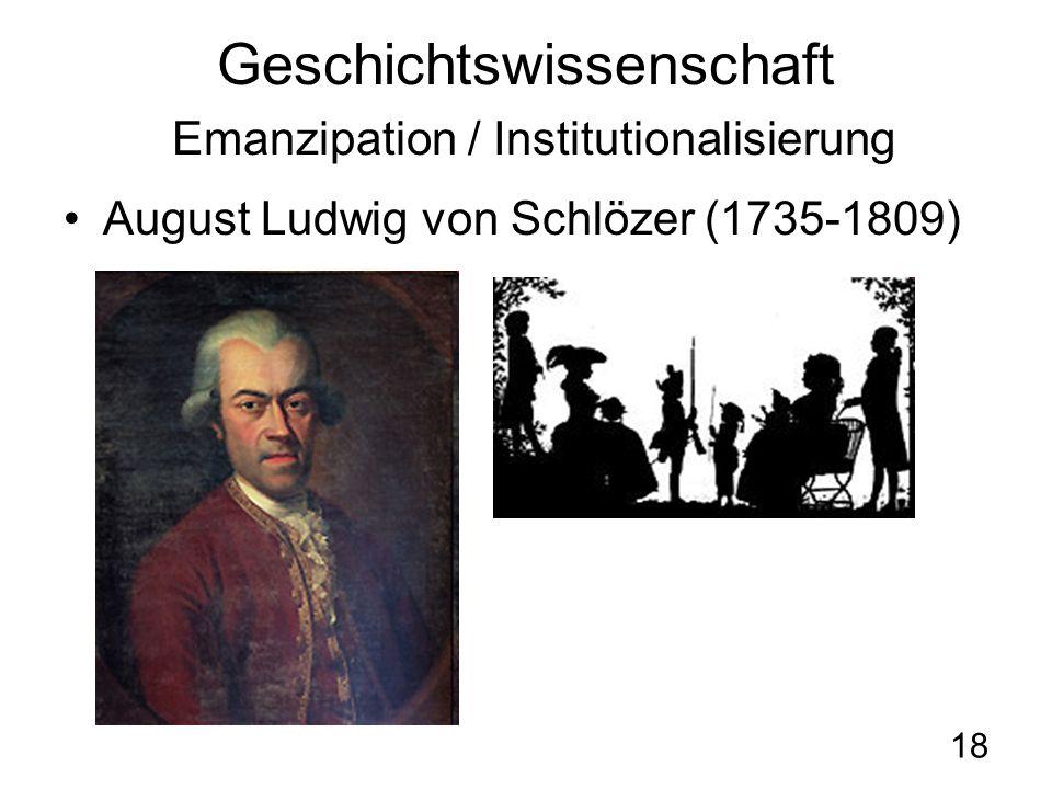 18 Geschichtswissenschaft Emanzipation / Institutionalisierung August Ludwig von Schlözer (1735-1809)