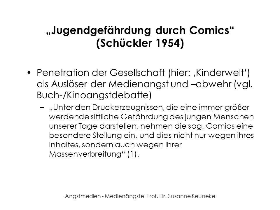 Angstmedien - Medienängste, Prof. Dr. Susanne Keuneke Jugendgefährdung durch Comics (Schückler 1954) Penetration der Gesellschaft (hier: Kinderwelt) a