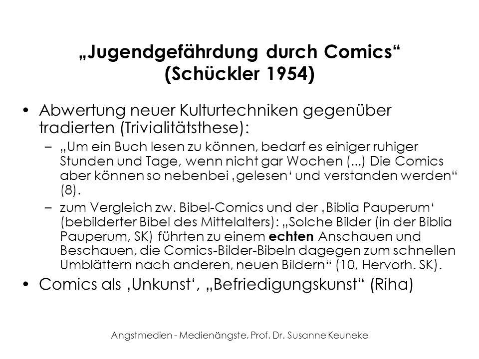 Angstmedien - Medienängste, Prof. Dr. Susanne Keuneke Jugendgefährdung durch Comics (Schückler 1954) Abwertung neuer Kulturtechniken gegenüber tradier