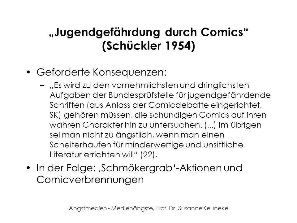 Angstmedien - Medienängste, Prof. Dr. Susanne Keuneke Jugendgefährdung durch Comics (Schückler 1954) Geforderte Konsequenzen: –Es wird zu den vornehml