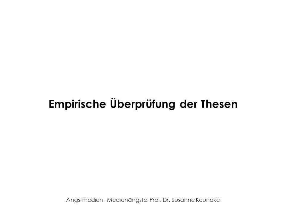 Angstmedien - Medienängste, Prof. Dr. Susanne Keuneke Empirische Überprüfung der Thesen