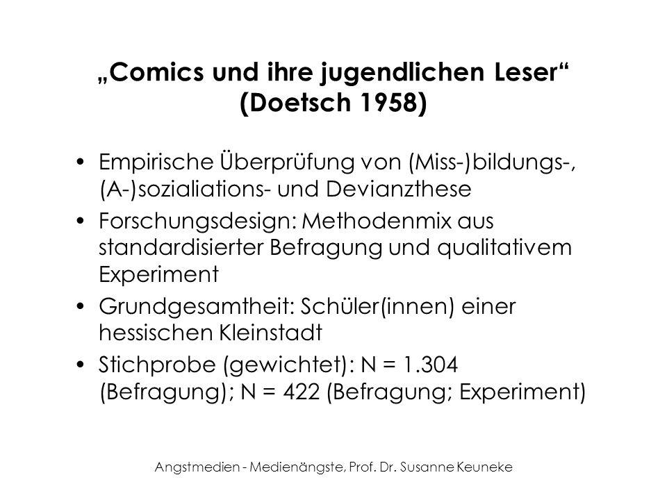Angstmedien - Medienängste, Prof. Dr. Susanne Keuneke Comics und ihre jugendlichen Leser (Doetsch 1958) Empirische Überprüfung von (Miss-)bildungs-, (