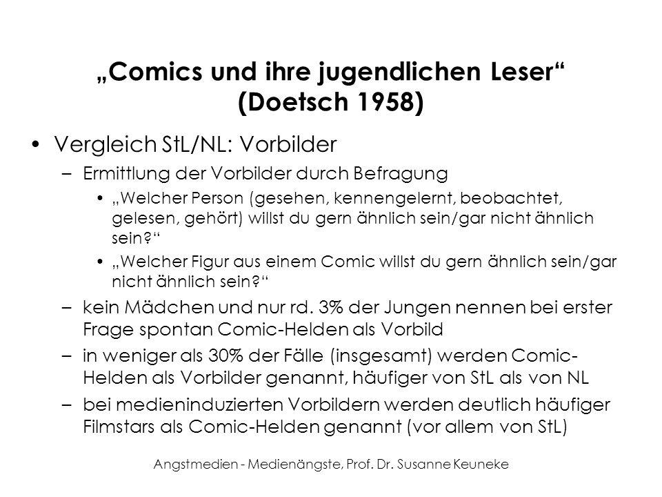 Angstmedien - Medienängste, Prof. Dr. Susanne Keuneke Comics und ihre jugendlichen Leser (Doetsch 1958) Vergleich StL/NL: Vorbilder –Ermittlung der Vo