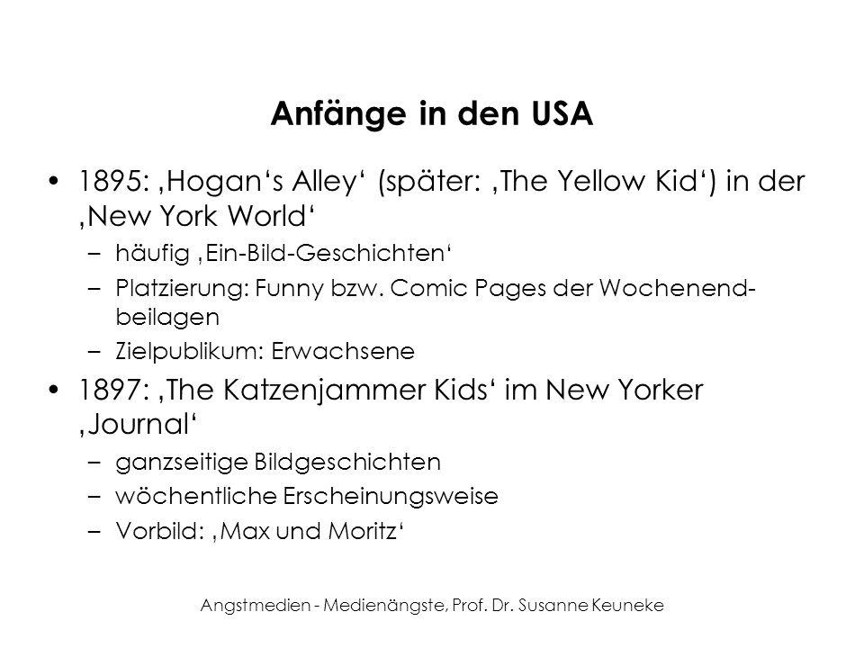 Angstmedien - Medienängste, Prof. Dr. Susanne Keuneke Anfänge in den USA 1895: Hogans Alley (später: The Yellow Kid) in der New York World –häufig Ein