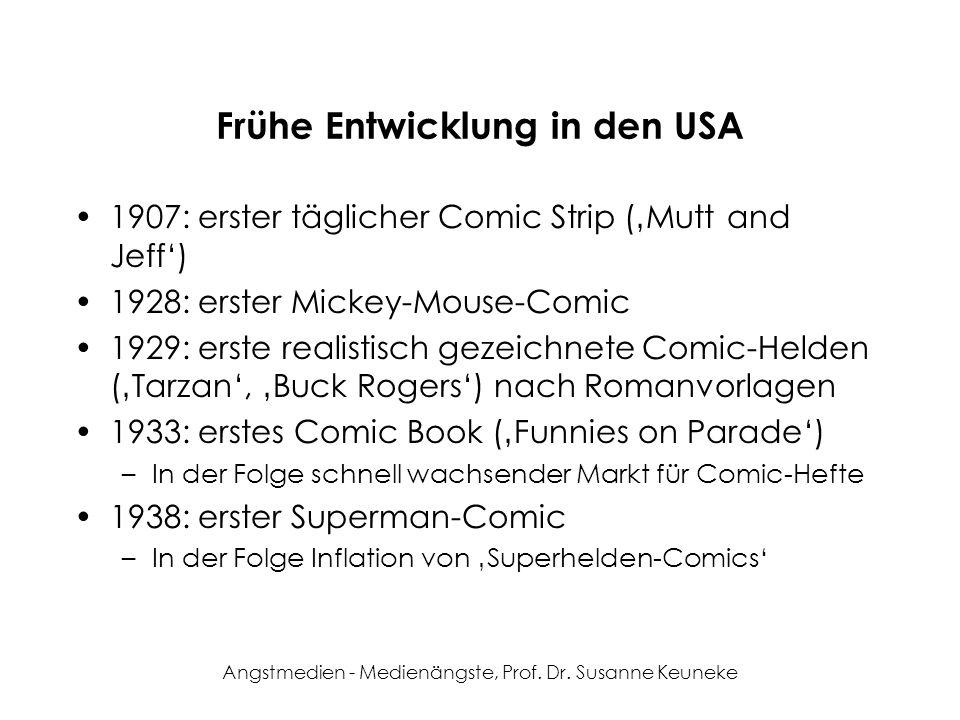 Angstmedien - Medienängste, Prof. Dr. Susanne Keuneke Frühe Entwicklung in den USA 1907: erster täglicher Comic Strip (Mutt and Jeff) 1928: erster Mic