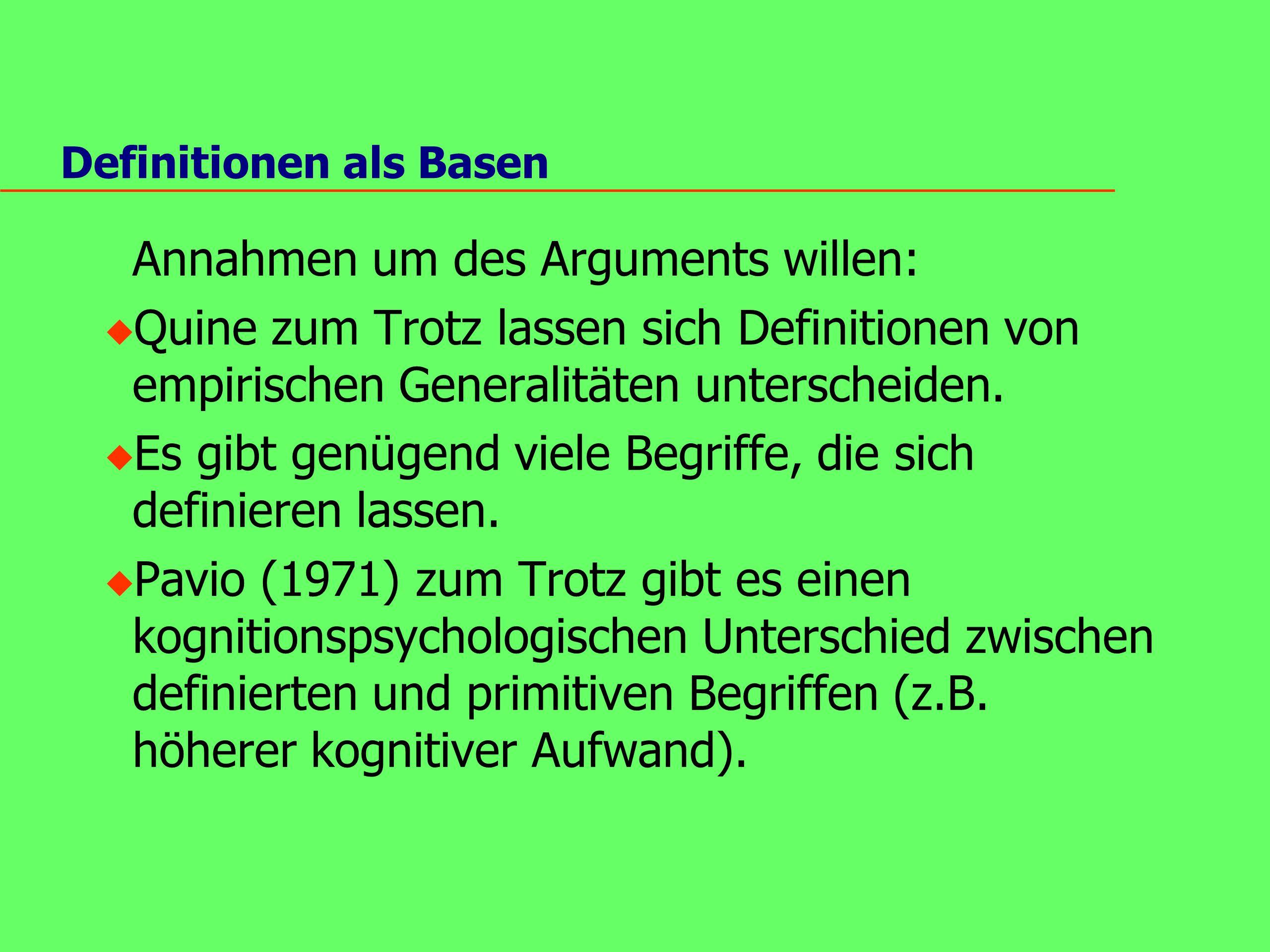 Definitionen als Basen Annahmen um des Arguments willen: u Quine zum Trotz lassen sich Definitionen von empirischen Generalitäten unterscheiden.