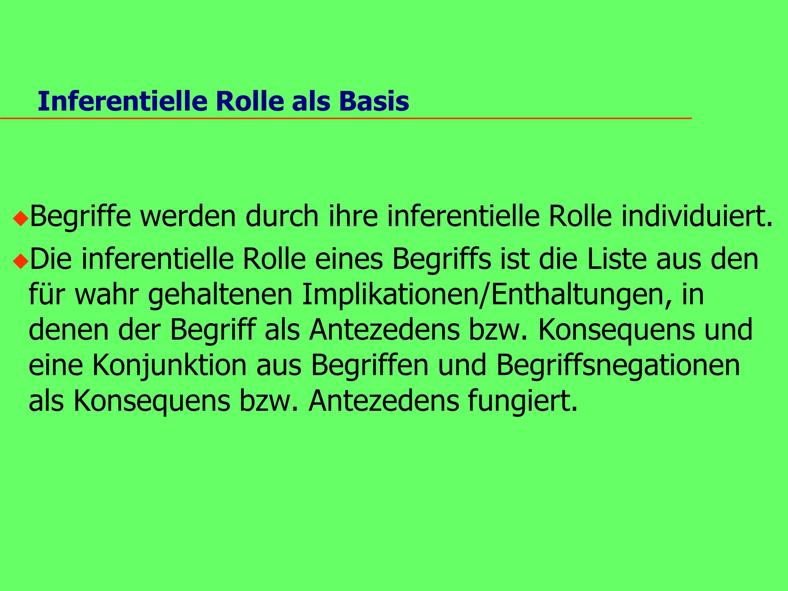 Inferentielle Rolle als Basis u Begriffe werden durch ihre inferentielle Rolle individuiert.
