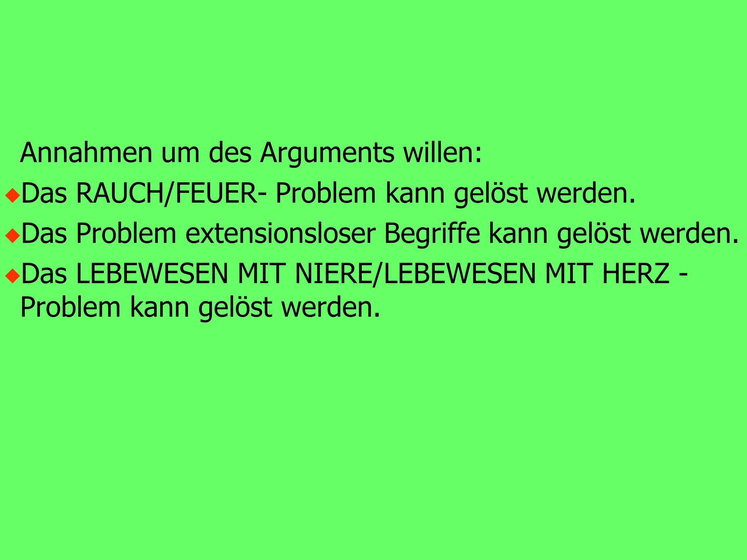 Annahmen um des Arguments willen: u Das RAUCH/FEUER- Problem kann gelöst werden.