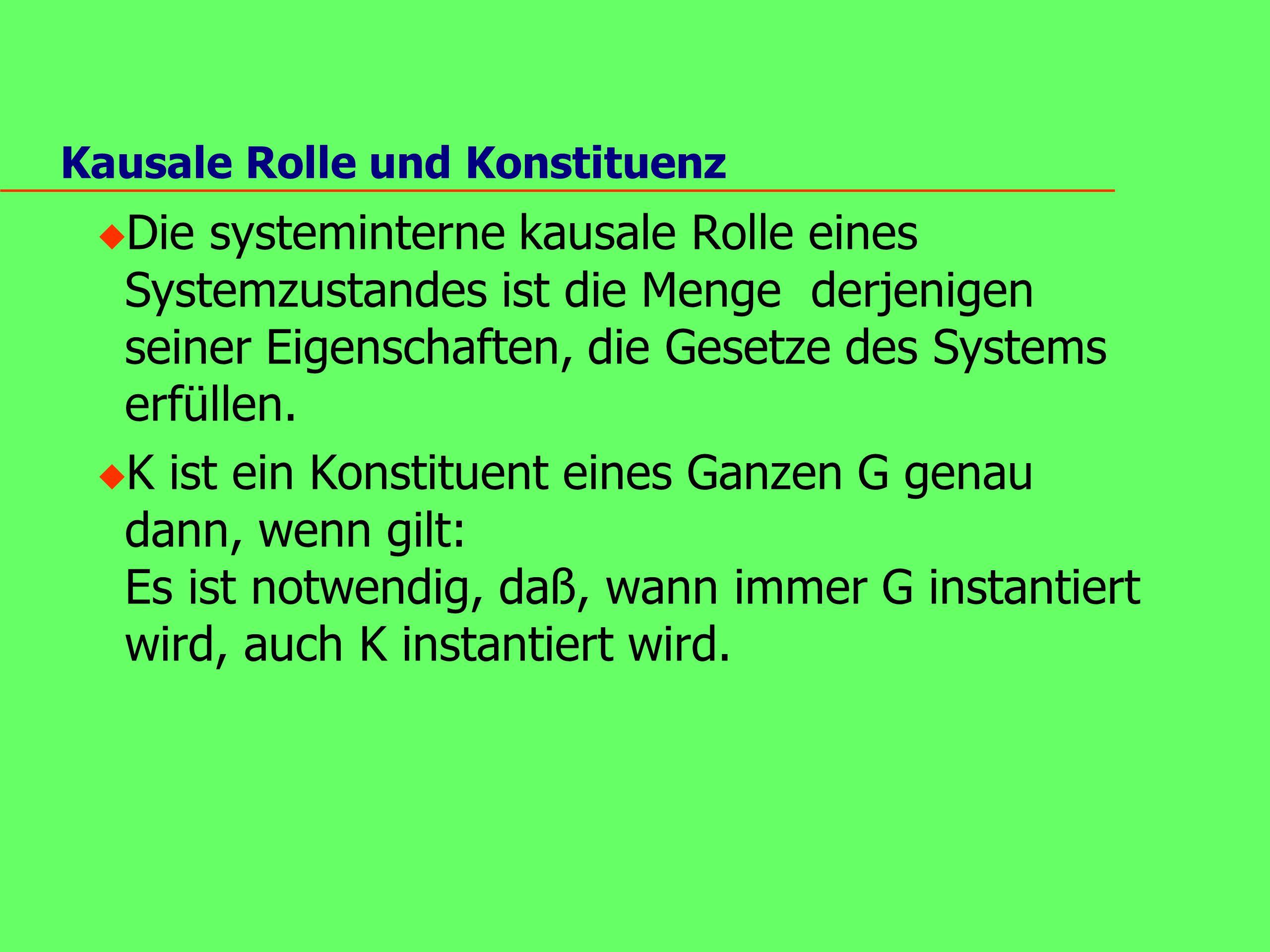 Kausale Rolle und Konstituenz u Die systeminterne kausale Rolle eines Systemzustandes ist die Menge derjenigen seiner Eigenschaften, die Gesetze des Systems erfüllen.