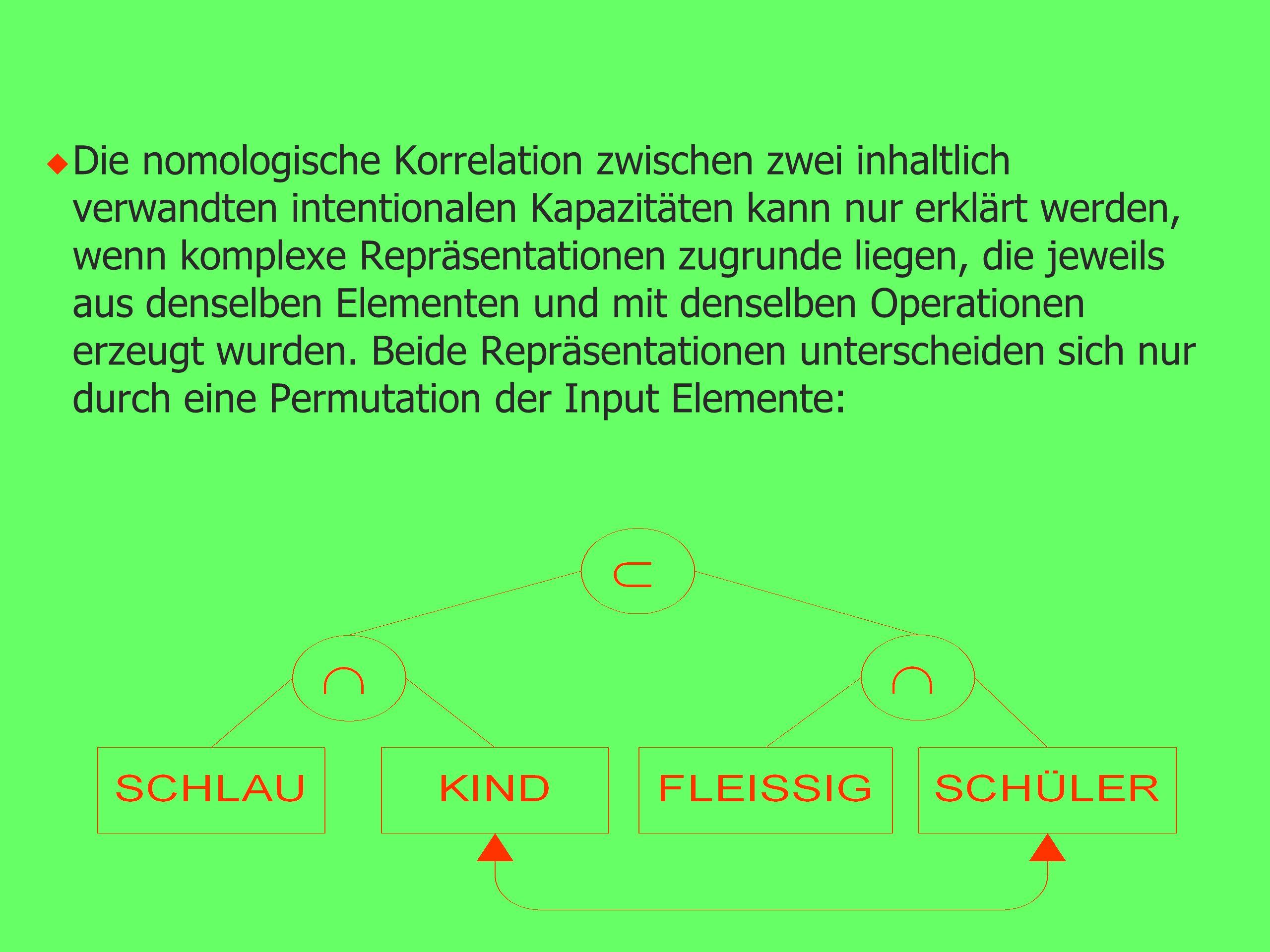 u Systematizität verlangt deshalb nach Operationen zur Kombination von Repräsentationen.