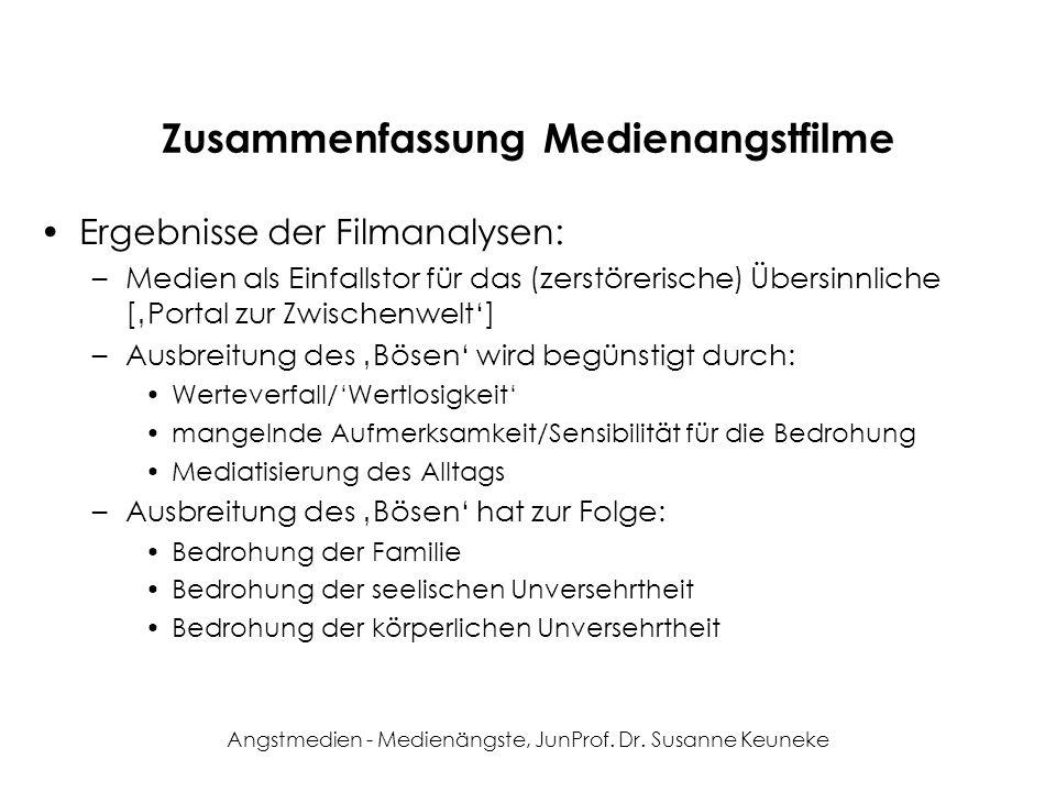 Angstmedien - Medienängste, JunProf. Dr. Susanne Keuneke Zusammenfassung Medienangstfilme Ergebnisse der Filmanalysen: –Medien als Einfallstor für das