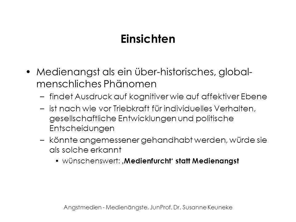 Angstmedien - Medienängste, JunProf. Dr. Susanne Keuneke Einsichten Medienangst als ein über-historisches, global- menschliches Phänomen –findet Ausdr