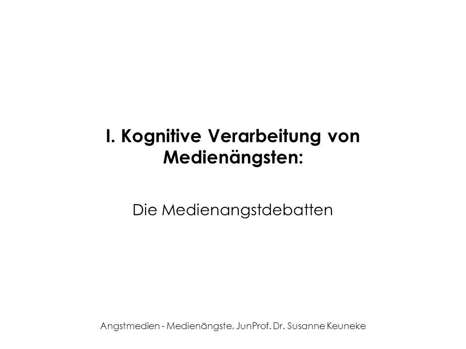 Angstmedien - Medienängste, JunProf. Dr. Susanne Keuneke I. Kognitive Verarbeitung von Medienängsten: Die Medienangstdebatten