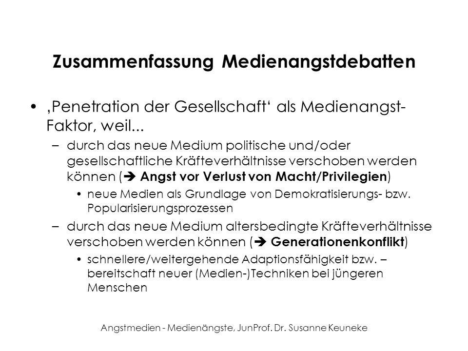 Angstmedien - Medienängste, JunProf. Dr. Susanne Keuneke Zusammenfassung Medienangstdebatten Penetration der Gesellschaft als Medienangst- Faktor, wei