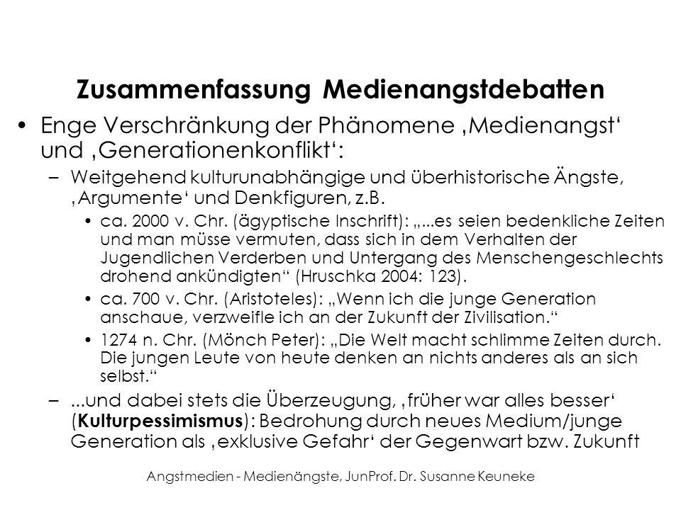 Angstmedien - Medienängste, JunProf. Dr. Susanne Keuneke Zusammenfassung Medienangstdebatten Enge Verschränkung der Phänomene Medienangst und Generati
