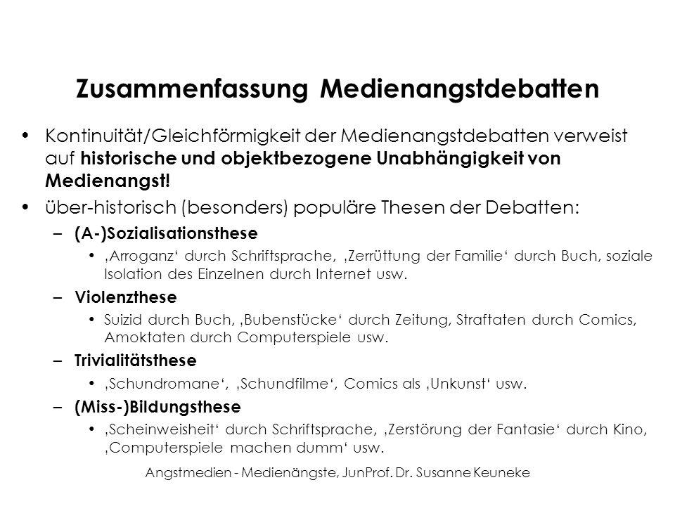 Angstmedien - Medienängste, JunProf. Dr. Susanne Keuneke Zusammenfassung Medienangstdebatten Kontinuität/Gleichförmigkeit der Medienangstdebatten verw