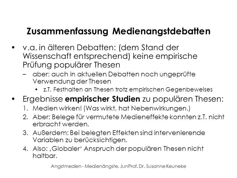 Angstmedien - Medienängste, JunProf. Dr. Susanne Keuneke Zusammenfassung Medienangstdebatten v.a. in älteren Debatten: (dem Stand der Wissenschaft ent