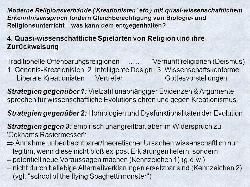 Moderne Religionsverbände ('Kreationisten' etc.) mit quasi-wissenschaftlichem Erkenntnisanspruch fordern Gleichberechtigung von Biologie- und Religion