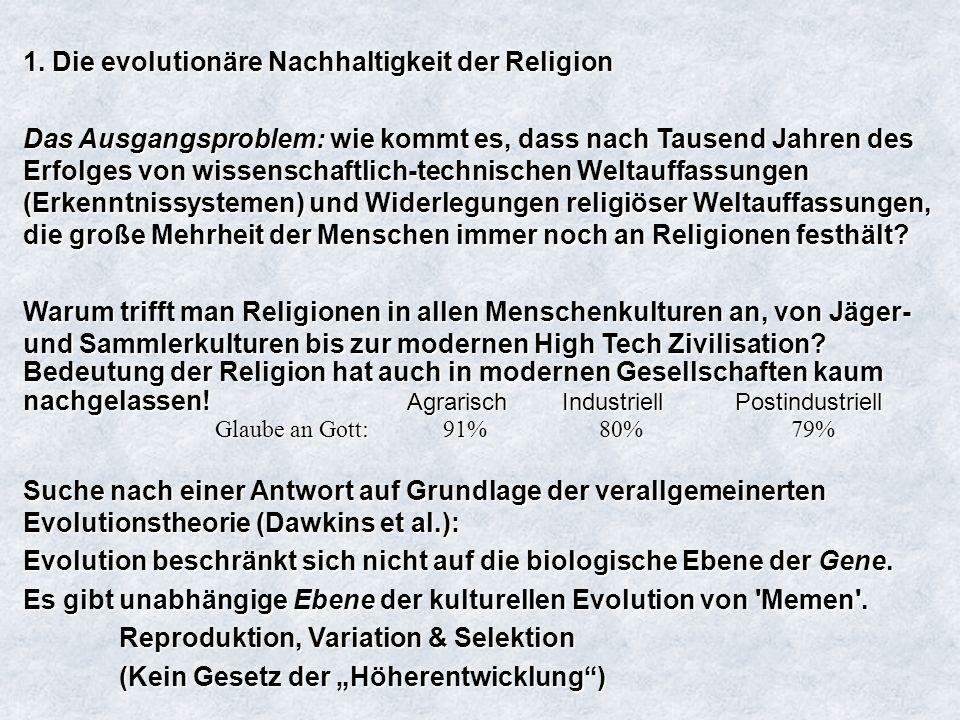 1. Die evolutionäre Nachhaltigkeit der Religion Das Ausgangsproblem: wie kommt es, dass nach Tausend Jahren des Erfolges von wissenschaftlich-technisc