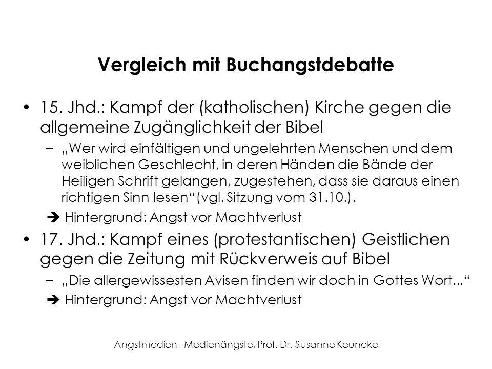 Angstmedien - Medienängste, Prof. Dr. Susanne Keuneke Vergleich mit Buchangstdebatte 15. Jhd.: Kampf der (katholischen) Kirche gegen die allgemeine Zu