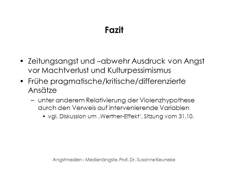 Angstmedien - Medienängste, Prof. Dr. Susanne Keuneke Fazit Zeitungsangst und –abwehr Ausdruck von Angst vor Machtverlust und Kulturpessimismus Frühe