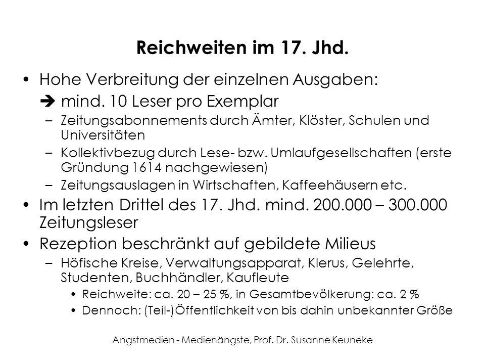 Angstmedien - Medienängste, Prof. Dr. Susanne Keuneke Reichweiten im 17. Jhd. Hohe Verbreitung der einzelnen Ausgaben: mind. 10 Leser pro Exemplar –Ze