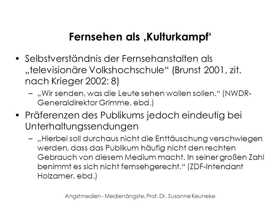 Angstmedien - Medienängste, Prof. Dr. Susanne Keuneke Fernsehen als Kulturkampf Selbstverständnis der Fernsehanstalten als televisionäre Volkshochschu