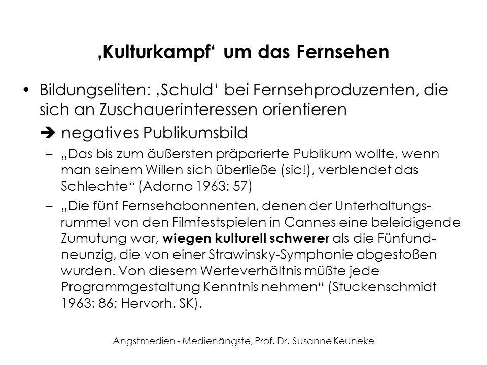 Angstmedien - Medienängste, Prof. Dr. Susanne Keuneke Kulturkampf um das Fernsehen Bildungseliten: Schuld bei Fernsehproduzenten, die sich an Zuschaue