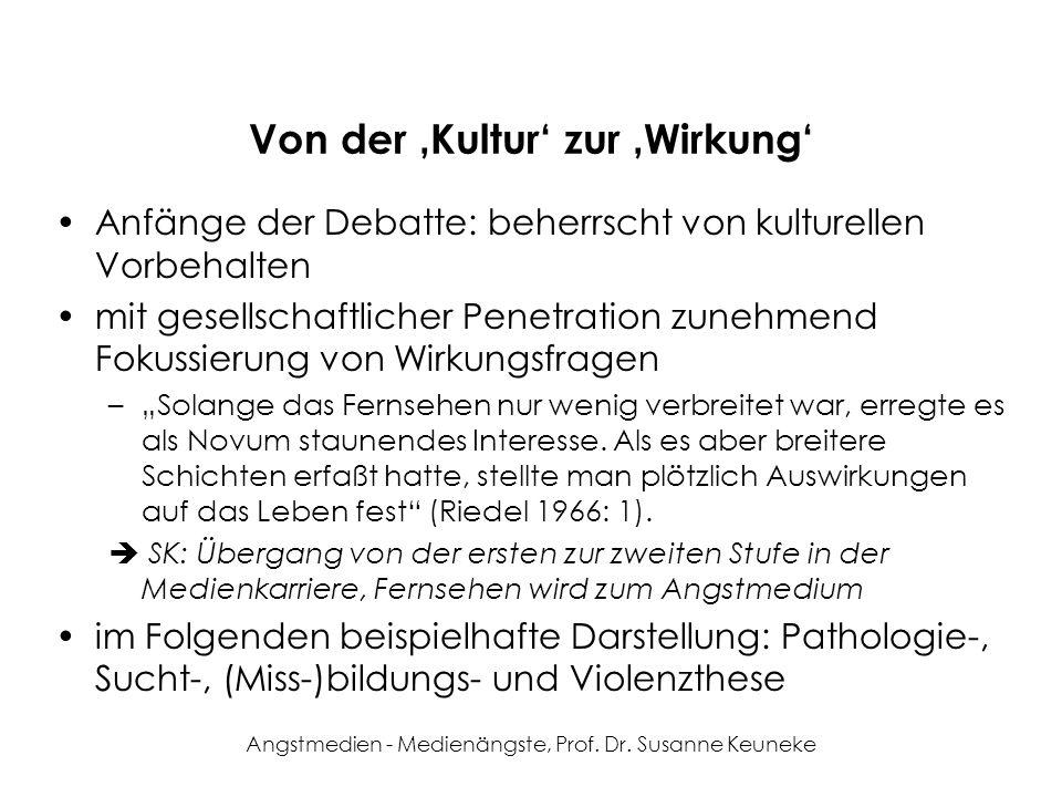 Angstmedien - Medienängste, Prof. Dr. Susanne Keuneke Von der Kultur zur Wirkung Anfänge der Debatte: beherrscht von kulturellen Vorbehalten mit gesel